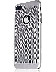 Microcase Apple iPhone 7 Plus Mesh Delikli Rubber Kılıf+Tempered Cam, GÜMÜŞ