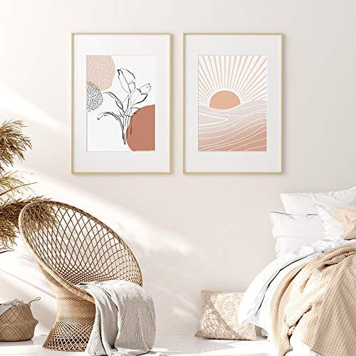 WJY Moderne Terrakotta Boho Sonne Mond Pflanzen Poster Geometrische Leinwand Malerei Wandkunst Bilder für Wohnzimmer Home Interior Decor 50x70cmX2 Kein Rahmen