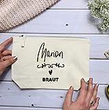 Geschenk Braut Trauzeugin Brautjungfer - personalisierter Kosmetikbeutel Natur