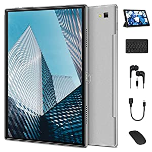 qunyiCO Y20 Grandes Tablet 10.1 Pulgadas Android 10.0, 4G Dual SIM/SD, Batería 8000mAh, 4GB RAM 64GB ROM, 5G/2.4G Dual WIFI, Tipo C/OTG/GPS/Beidou, 1280 * 800, Cámara dual de 13MP/5MP, Gris-plata
