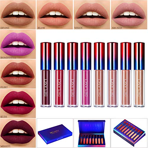 Liquid Lipstick Matte Set,DE'LANCI Lipstick Long Lasting and Waterproof,Dark Red Liquid Lipgloss Stay All Day,8 Colors Lip Gloss Natural Nude Lipsticks Gift Kit (20cm)