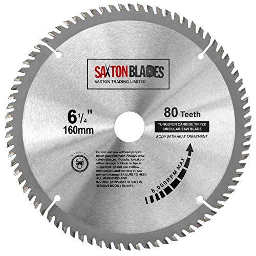 TCT16080T Saxton TCT - Hoja de sierra circular para madera, 160 mm x 80 t para Festool TS55 Bosch Makita Dewalt