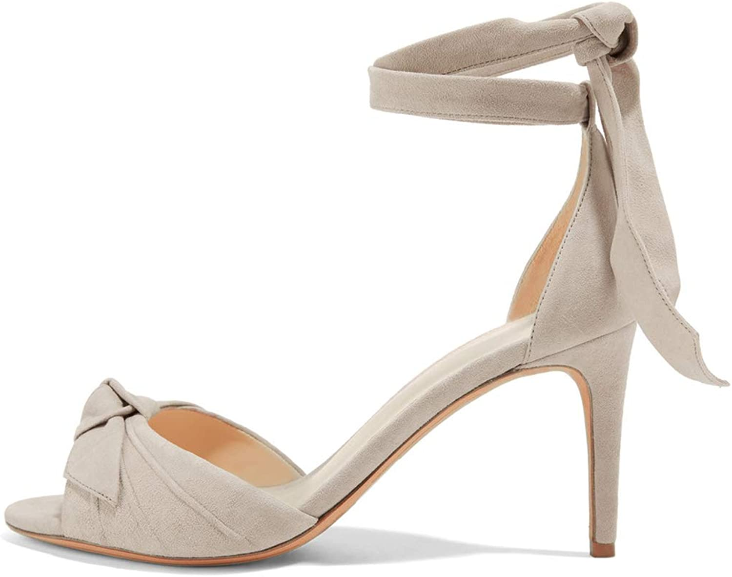 NJ Women Elegant D'Orsay Peep Toe High Heel Sandals Ankle Strap Suede Dress Pumps shoes with Front Bow