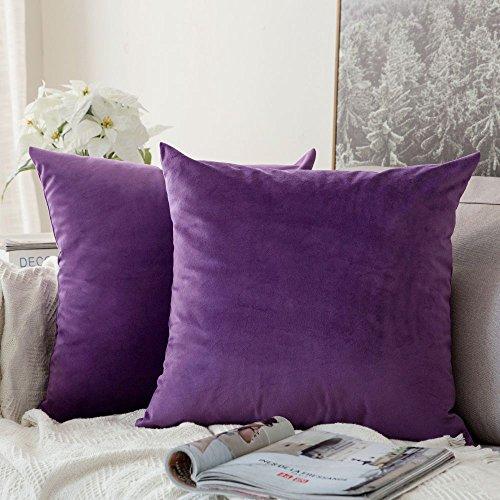 MIULEE Pack de 2, Terciopelo Suave Juego de Mesa de Manta de decoración Cuadrado Fundas de Almohada Funda de cojín para sofá dormitorio16 x 16 Pulgada 40 x 40 cm Púrpura