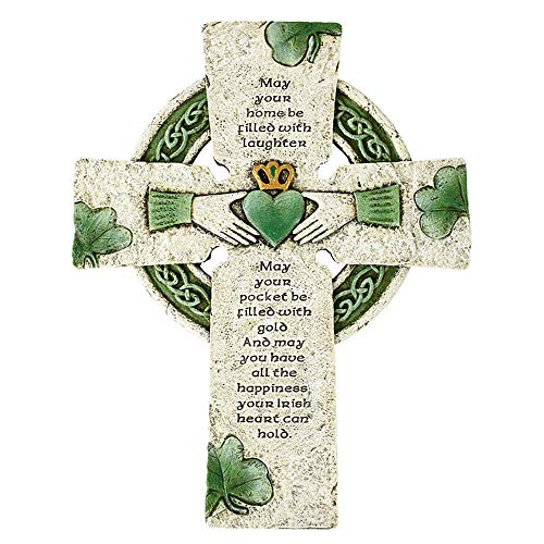 Irish Blessing Celtic White and Green Wall Cross with Claddagh, Celtic Knots and Shamrock Design Details (10'H)
