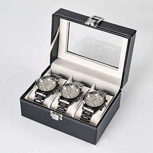 StMiYi Caja Relojes para 3 Relojes,Guarda Relojes/Estuche con Cojín de Cuero de PU,Almacenamiento de Reloj con Cerradura,Organizador de Caja de Almacenamiento de Joyas para Hombre y Mujer