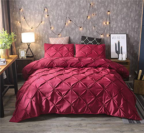 KSUDE Funda de edredón, bonita decoración en el dormitorio, funda de edredón plisada de microfibra, se puede...