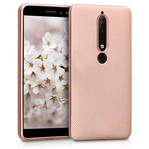 kwmobile Hülle kompatibel mit Nokia 6.1 (2018) - Handyhülle - Handy Hülle Metallic Carbon dünn Rosegold
