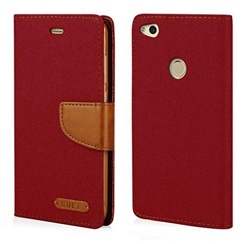 Elegante funda tipo libro para Huawei P8 Lite 2017 – Funda protectora para teléfono móvil, funda protectora, funda tipo libro, color rojo y marrón