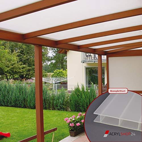 ACRYLSHOP24 Terrassendach Terrassenüberdachung Carport Komplettset Acrylglas 16/32 Opal-Weiß Sunstop Stegplatten Tiefe:3000mm|Breite:2070mm