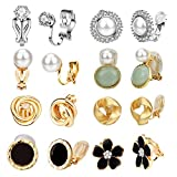 Clip Earrings for Women, Hicdaw 8 Pairs Clip on Earrings for Women Non Pierced Clip On Earrings for Rose Flower CZ Simulated Freshwater Pearl Twist Knot Hypoallergenic Earrings for Girls Jewelry (Gold)