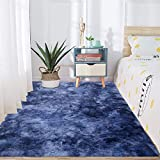 Shag Ultra Soft Area Rug, Modern Indoor Fluffy Rugs, Non-Slip and Tie-Dyed Carpet for Living Room, Bedroom, Nursery, Girls and Kids Playroom Decor, 5.3 x 7.5 Feet, Dark Blue