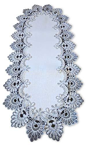 Galleria di Giovanni Silver Gray Lace Table Runner Antique White 54 Inch Dresser Scarf Doily