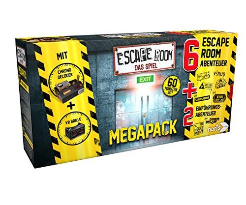 Noris 606101831 Escape Room Mega Pack, Familien und Gesellschaftsspiel für Erwachsene, inkl. 8 Fällen und Chrono Decoder, ab 16 Jahren