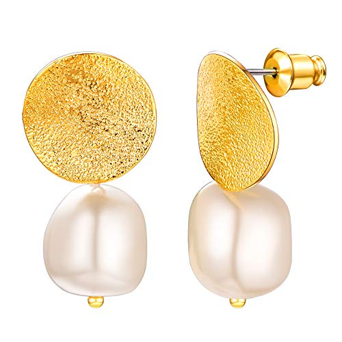 U7 Women Vintage Matte Stud S925 Silver Needle Simulted 12mm White Baroque Pearl Drop Earrings Baroque Pearl Drop Earrings