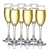 Kingrol 6 oz. Glass Champagne Flutes, Set of 6 Sparkling Wine Glasses for Champagne, Cava, Prosecco