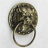 JJDSN Aldaba de latón con Cara de león, herrajes para Puertas de Metal, manija para cajón, manija Decorativa para el hogar, manija de Puerta con Cabeza de león para Todas Las Puertas-a 9.5x13cm