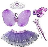 Little Fairy Princess Dress Up Role Play Costume Set for Girls (6pcs) (Purple)