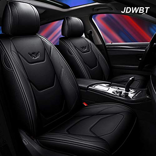 Autositzbezüge Leder, Kunstleder Sitzbezug Auto Vordersitze Hinten 5 Sitz Voll Set Universal Pad Seat Protectors (Farbe : Schwarz)