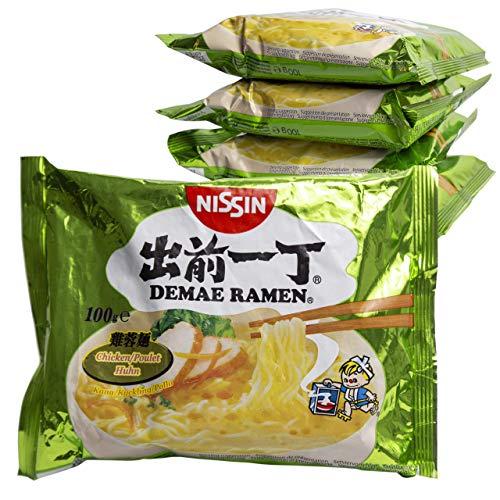 Ramen Nissin Fideos Instantáneos paquetes de 100gr | Fácil de preparar | Noodles de Japón (Pollo, 5)