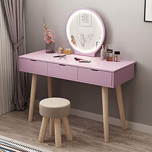 MYAOU Schminktisch mit Spiegel Schlafzimmer Schminktische MDF Schminktischplatte Holzbeine Hocker Schminktisch mit Kosmetikschubladen, Pink/Blau