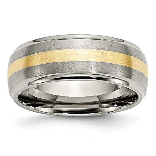 ICE CARATS Titanium Ridged Edge 14k Yellow Inlay 8mm Brushed/Wedding Ring Band Size 10.50 Precious Metal Fine Jewelry for Women Gifts for Her