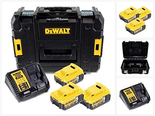 DeWalt DCB115P3 - Batteria Plus da 18 V, con 3 batterie DCB184, 5,0 Ah, caricatore e TSTAK