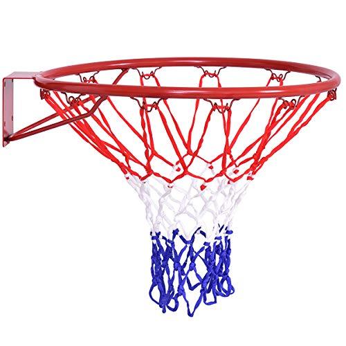 Goplus Basketball Rim, Basketball Net, Indoor Outdoor Hanging Basketball Goal with All Weather Net Wall Mounted Basketball Hoop 18''