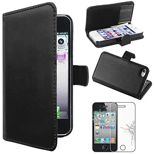 ebestStar - Cover Compatibile con iPhone 4, 4S Custodia Portafoglio Pelle PU Protezione Libro Flip, Nero + Pellicola Vetro Temperato [Apparecchio: 115.2 x 58.6 x 9.3mm, 3.5'']