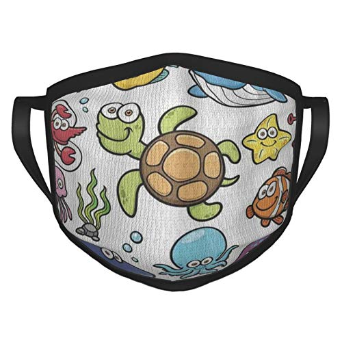 Funda para la cara, colección de animales del océano, alegre natación, peces payaso y pez globo de pescado, tela de camarón, cubierta para la boca, paño lavable para hombres, mujeres, ciclismo, camping, viajes