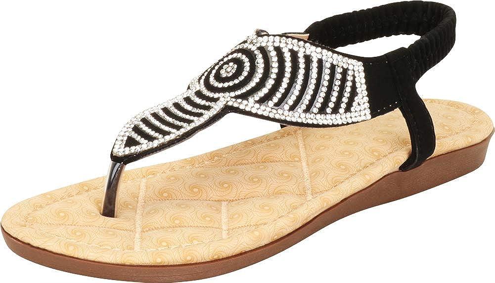 Cambridge Select Women's T-Strap Thong Crystal Rhinestone Glitter Stretch Slingback Flat Sandal