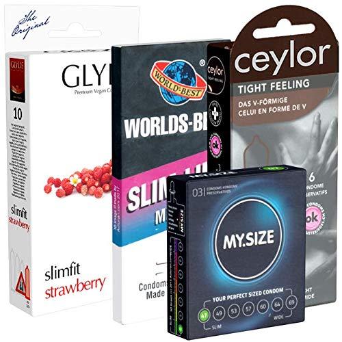 Der Kondomotheke® Special Tight Pack - 4 Schachteln kleine Kondome für ein enges Gefühl und festen Halt ohne Abrutschen - XS Kondome, 29 Kondome