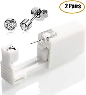 medoga 2 PCS Ear Piercing Gun Disposable No Pain Safety Unit Tool with Ear Stud Asepsis Pierce Kit for Girls Women Men (White)