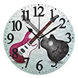 WIHVE Guitar Number Wall Clock, 9.5 Inch Round Clock Silent Non-Ticking Battery Operated Easy to Read for Home Office School