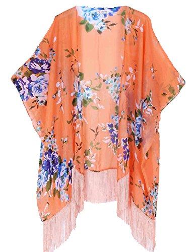 Damska kwiatowa kimono Cover Up - lekka szyfon panterka odzież plażowa do bikini, kardigan i stroje kąpielowe