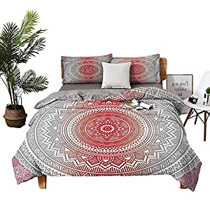 DRAGON VINES 4pcs Bedding Set Silk Sheets King Size Sheets Hippie Ombre Cosmos Pattern with Flower Geometric Figures Indie Image Vermilion Grey Boy Girl Kid W68 xL90