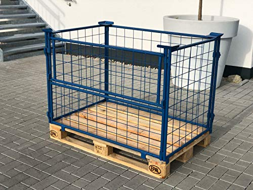 Systafex® Palettenaufsatzrahmen Gitter-aufsatzrahmen Gitterboxpalette Gitterbox 1200x800x800mm Nutzhöhe 800mm Blau faltbar für Euro-Paletten