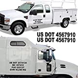 1060 Graphics - Custom Made Registration Numbers (Two Sets) USDOT, MC, GVW, Truck Vinyl Lettering Letters Decal Stickers