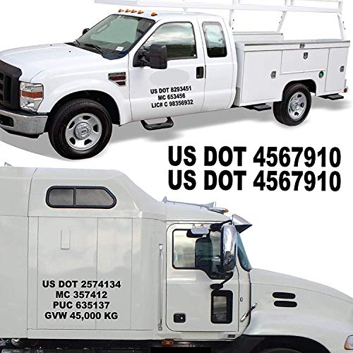 USDOT Truck Registration Numbers - Custom Made To Order in Any Text, Font, Color, and Size