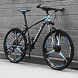 SHUI Bicicleta De Montaña, Adulto 26 Pulgadas, 24 Velocidades, Bicicleta De Carretera, Marco De Acero Al Carbono, Bicicleta Todoterreno, Hombres, Deportes, Ciclismo, Carr 3 Black-Blue Wheels