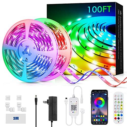 Livingpai LED-Lichtstreifen, 30,5 m, Farbwechsel-LED-Lichtstreifen mit Musik-Synchronisation, Fernbedienung, integriertes Mikrofon, Bluetooth-App-Steuerung, RGB-LED-Lichter für Schlafzimmer, Party, Küche, TV, Zuhause