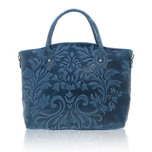 Chicca Borse - Handbag Borsa a Mano da Donna Realizzata in Vera Pelle Made in Italy - 35 x 28 x 11 Cm
