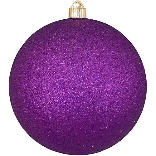 Christmas By Krebs Giant Commercial Grade Indoor Outdoor Moisture Resistant Shatterproof Plastic Ball Ornament, 8 (200mm), Purple Glitter