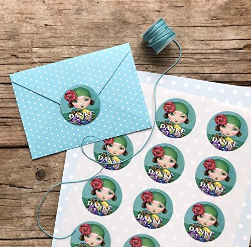 Danke Sticker A4 Bogen, Aufkleber 15 Stk. ca.5 cm Durchmesser, Papier-deko, selbstklebende runde Etiketten Mädchen mit Blumenstrauß -Motiv