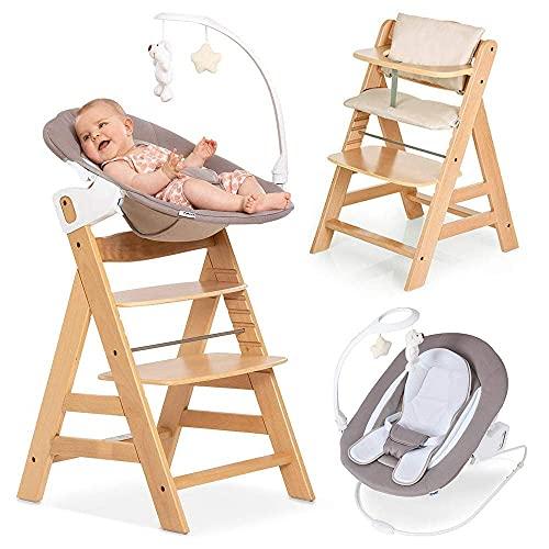 Hauck Alpha Plus Natur Newborn Set Deluxe - Baby Holz Hochstuhl ab Geburt mit Liegefunktion - inkl. Aufsatz für Neugeborene & Sitzpolster - mitwachsend, verstellbar