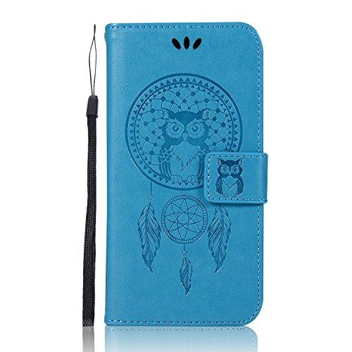 Sunrive Hülle Für Alcatel A5 LED, Magnetisch Schaltfläche Ledertasche Schutzhülle Hülle Handyhülle Schalen Handy Tasche Lederhülle(Blau Eule)