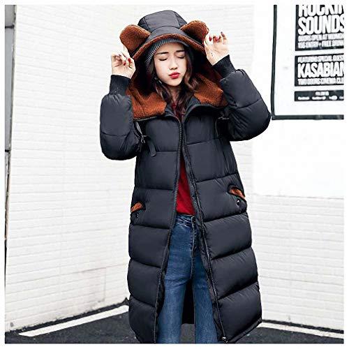 Pudwy Women Winter Coat Long Outwear Thick Padded Cotton Jacket for Women Long Sleeve Women Down Parka Clothing Women Plus Size Black S