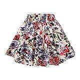 Girls Floral Skirts Pleated Skater Skirt Flower Patterned Vintage Polka Dots Full Circle Skirt 140 9-10 Years