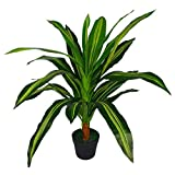 Leaf Design UK Artificial Dracaena Plant with Black Pot, Plastic, Variegated, 90cm