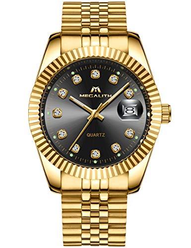 MEGALITH Herren Uhr Männer Gold Edelstahl Wasserdicht Designer Armbanduhren Mann Leuchtende Analog Datum Business Uhren